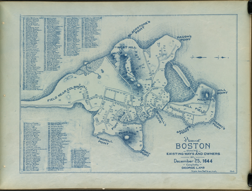 Plan of Boston showing existing ways and owners on December 25, 1644