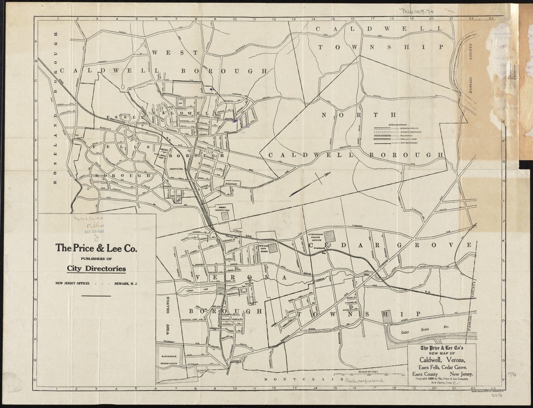 The Price & Lee Co's new map of Caldwell, Verona, Essex Fells, Cedar Grove, Essex County, New Jersey