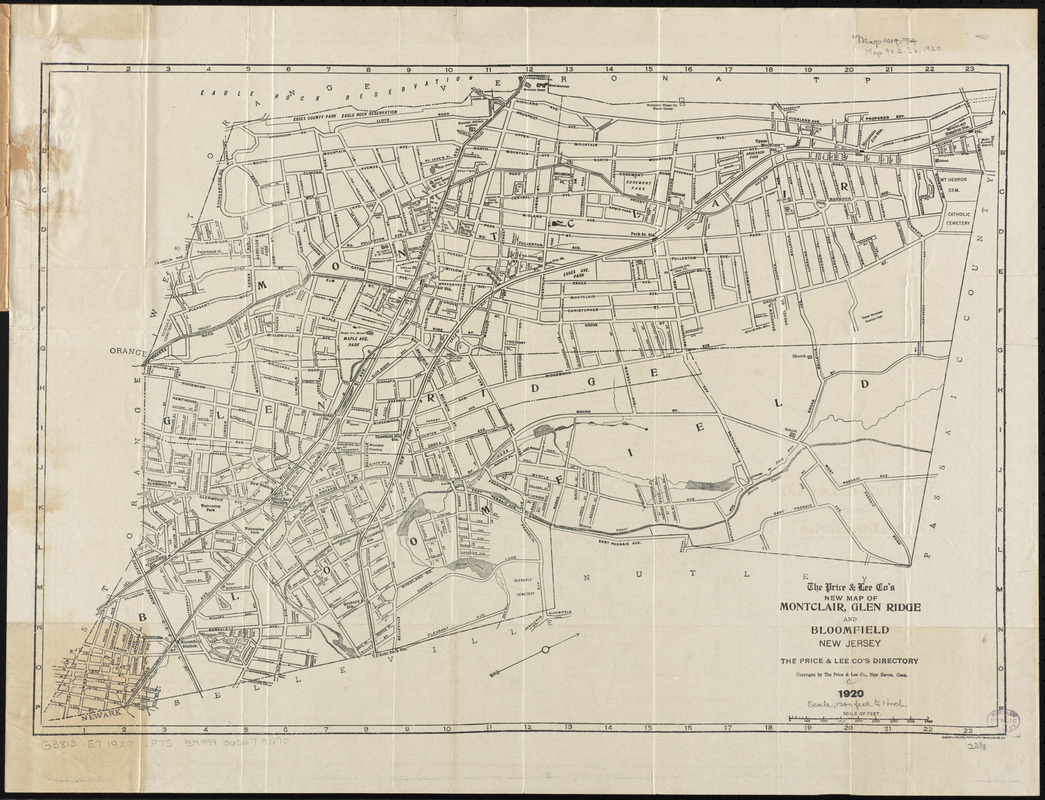 The Price & Lee Co's new map of Montclair, Glen Ridge and Bloomfield, New Jersey