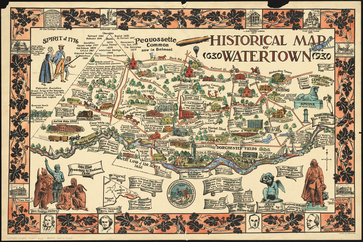 Historical map of Watertown, 1630-1930