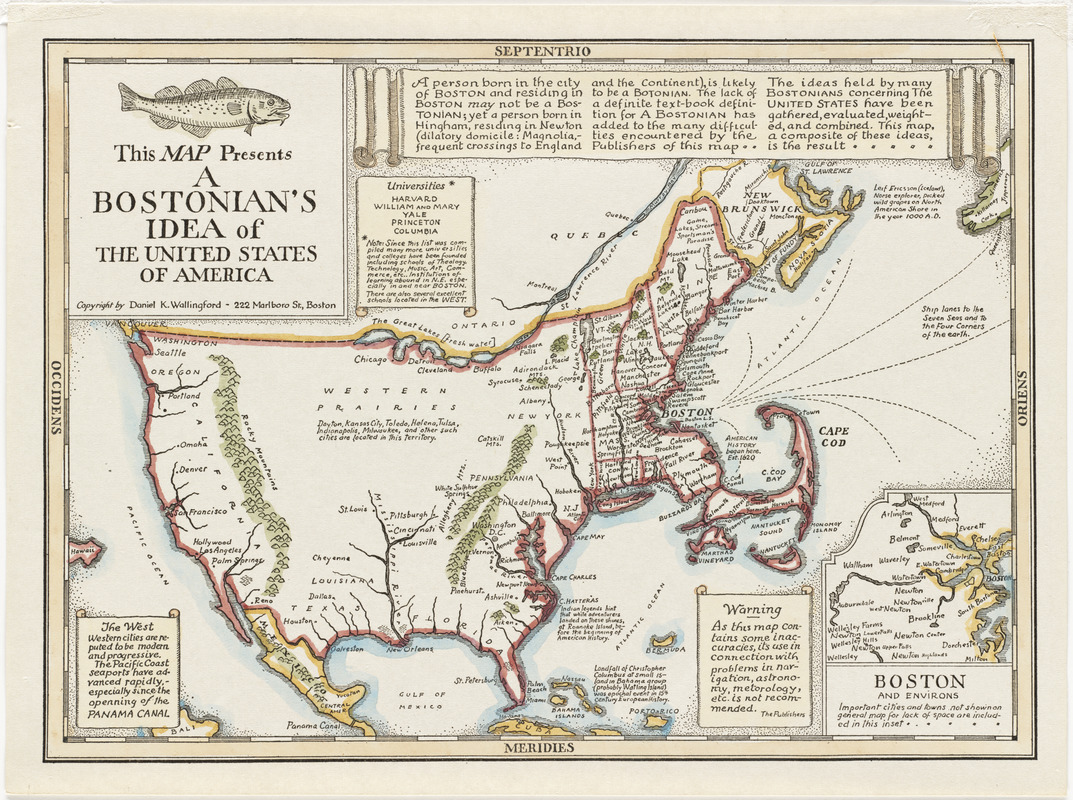 This map presents a Bostonian's idea of the United States of America Inset In The United States Map With on elevation united states, latitude united states, region united states, longitude united states, culture united states, globe united states, continent united states, mountain united states, geography united states, climate united states,
