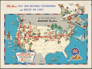 United Air Lines mainliner vacation map