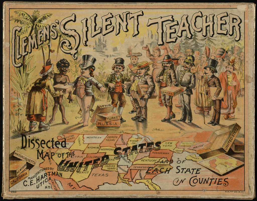 Clemens' silent teacher, dissected map of the United States and of each state in counties