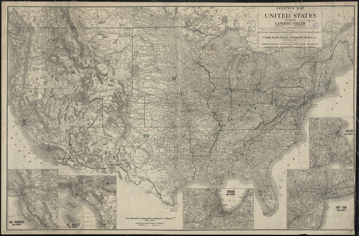 Aviation map of United States : featuring landing fields, improved, unimproved