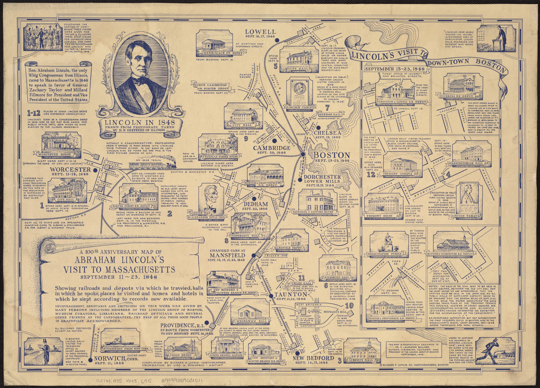 The 100th anniversary map of Abraham Lincoln's visit to Massachusetts, September 11-23, 1848
