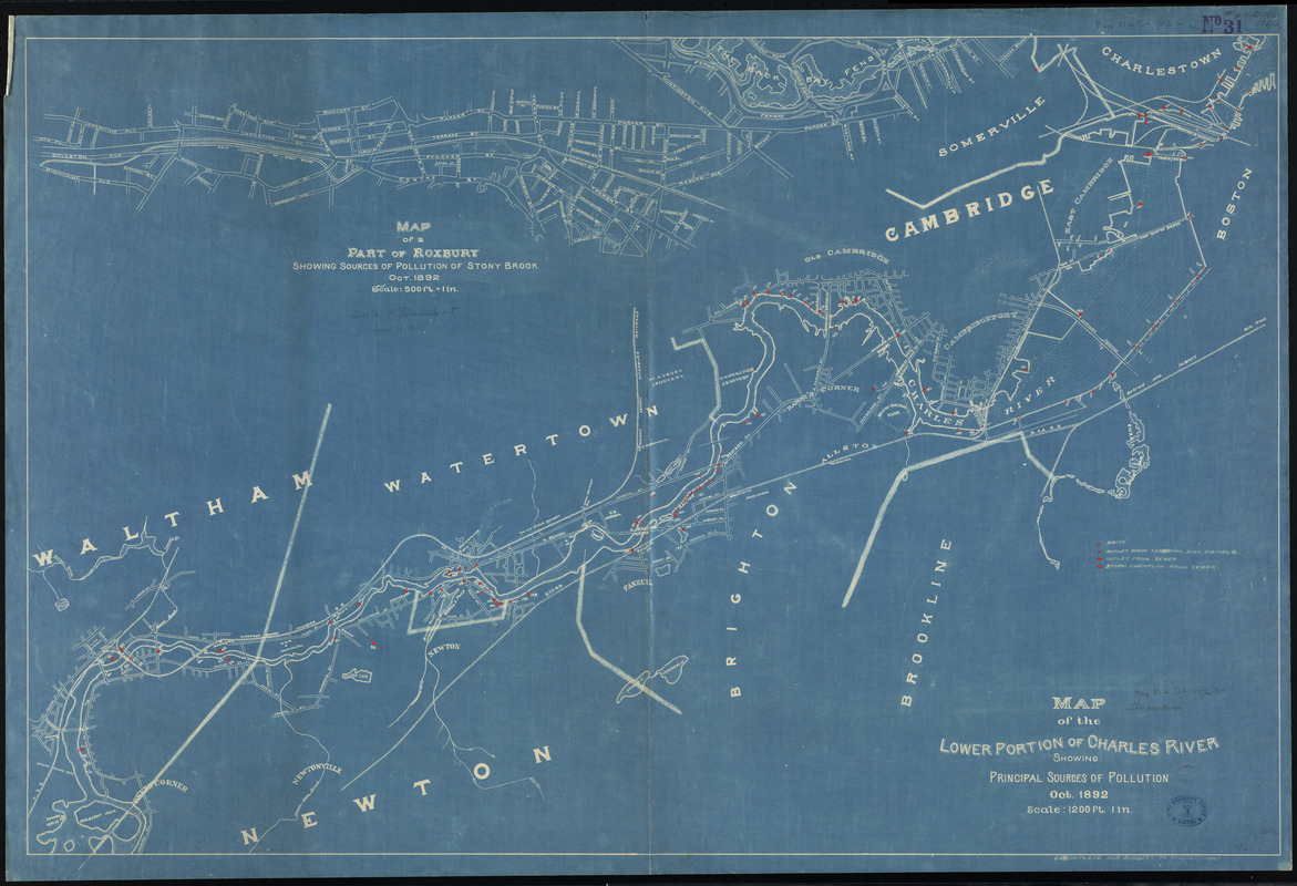Map of the lower portion of Charles River showing principal sources of pollution