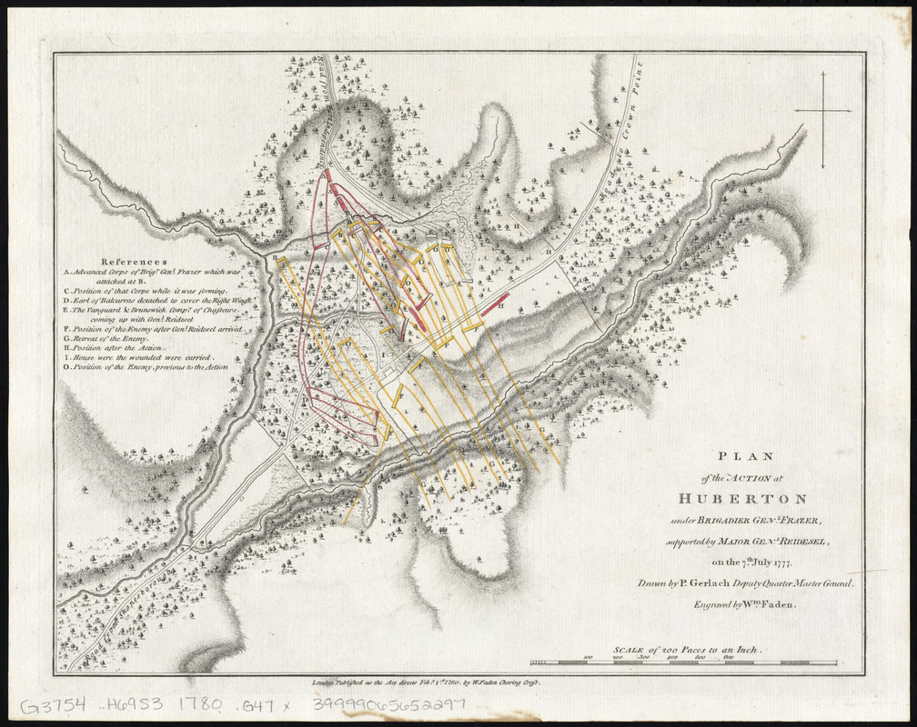 Plan of the action at Huberton under Brigadier Genl. Frazer, supported by Major Genl. Reidesel, on the 7th July 1777