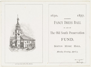 Advertising card for a ball in aid of The Old South Preservation Fund