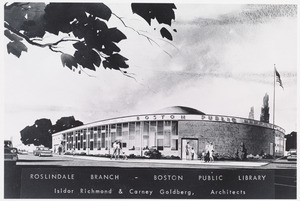 Architectural rendering of the Roslindale Branch of the Boston Public Library. Isidor Richmond & Carney Goldberg, architects