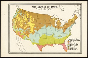 Advance of spring showing the approximate dates of the last killing frosts