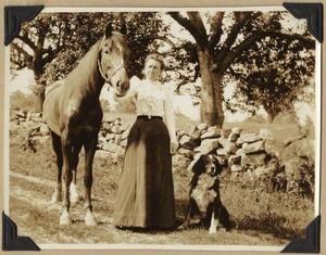 Mrs Carrie (Robbins) Dow and two of her pets