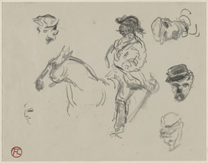 Central - study of a man on horse with additional studies of man's head; on verso, pencil sketches of sections of horse including the leg, hooves, rear, head and neck.