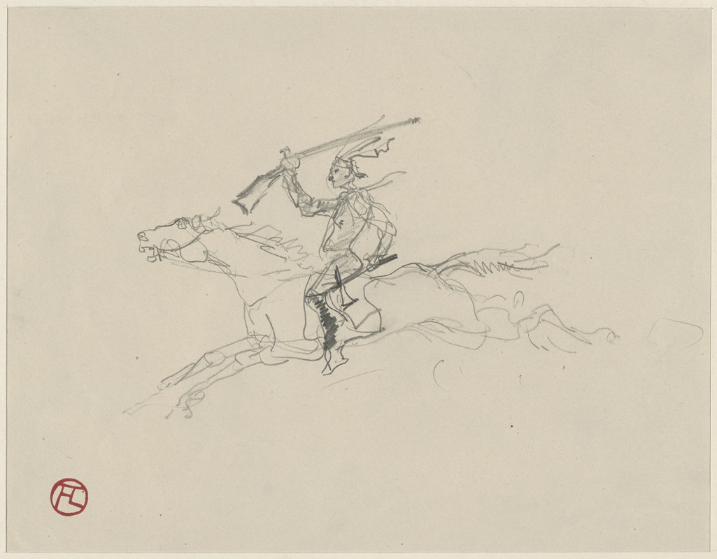 Indian with rifle on galloping horse; on verso, head studies, man on horseback, horse head, soldiers fighting