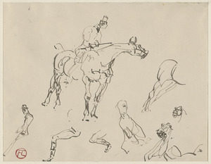 Study of man with crop on horse looking right and other details