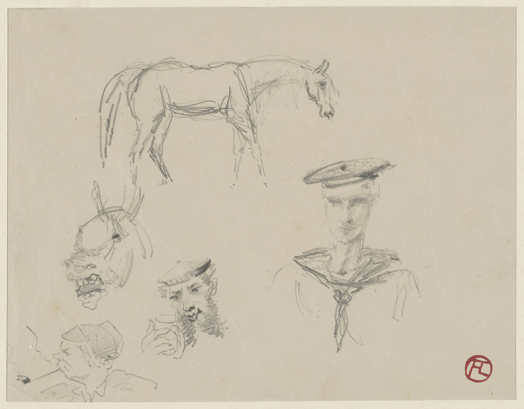 Studies of  heads of sailors, horses and man with pipe