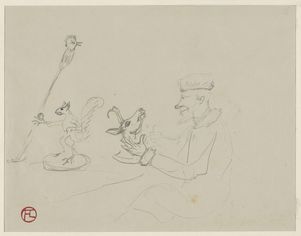 Man with head of deer, squirrel, and bird on a pole; on verso, two men in sailing boat.