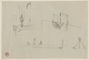 Studies of lifeboats and pulleys; on verso, study of  ship with two masts