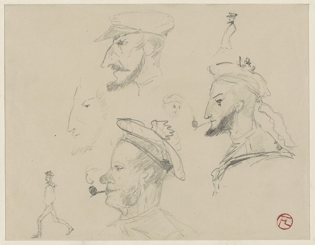 Studies of sailors' faces with different noses