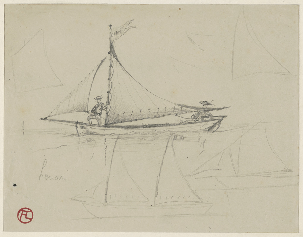 Two men sailing; on verso, three men on a sailing boat