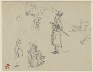 Two studies of men, three ways of a gentleman and two sketches of a general; on verso, sailor