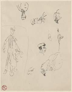 Five studies of a parrot, three head studies, a tall and a short figure