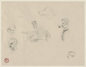 Three head studies, a character study, a dog study, a magistrate handing out a verdict