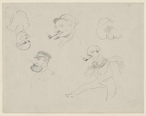 Five head studies, a soldier blowing horn, sailor figure study, fencer lying on his stomach; on verso, head studies, sailor