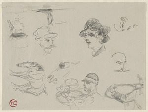 Five head studies, man blowing horn, horse studies; on verso, side view of horse pulling carriage