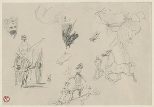 Horse pulling cart, woman's face hunter bit by fox, horse studies, figure studies; on verso, studies of a horse - bone structure of back leg, horse pulling carriage