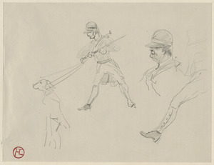 Studies of dog and man on a hunt; on verso, head studies