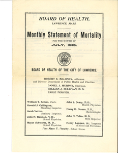 Lawrence, Mass., monthly statements of mortality, 1915