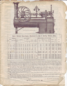 Table of portable steam-engines, manufactured by John C. Hoadley, Lawrence, Massachusetts