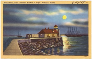 Breakwater Light, Portland Harbor at night, Portland, Maine