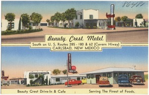 Beauty Crest Motel, south on U.S. Routes 285 - 180 & 62 (Cavern Hiway), Carlsbad, New Mexico