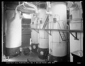 Distribution Department, Chestnut Hill Low Service Pumping Station, boiler room, Brighton, Mass., Apr. 1917