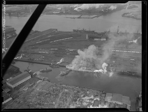 Aerial photos of ship on fire