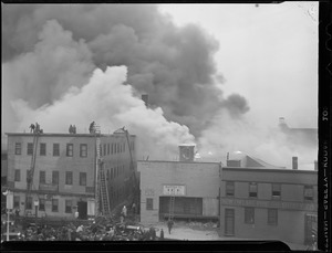 B&F Coal Co. building burns, day and night