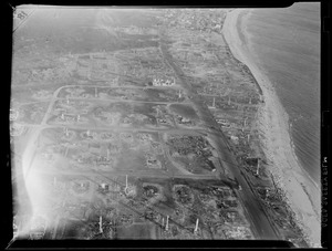 Aerial photo of fire aftermath in beachfront area