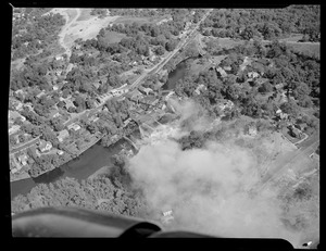 Aerial view of blaze near river