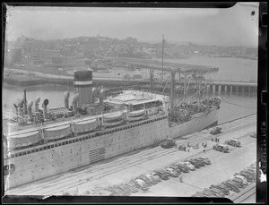 Ocean liner, possibly at berth 9, Army Base, South Boston. Reserve channel.