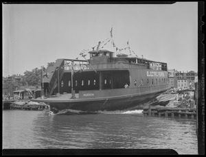 Diesel-electric ferry being launched from General Ship Co., 336 Border St., E. Boston