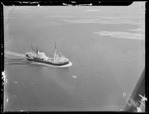 Aerial of ice clad ship