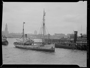 """""""Norge"""" & Navy boat with plane, Boston Harbor"""