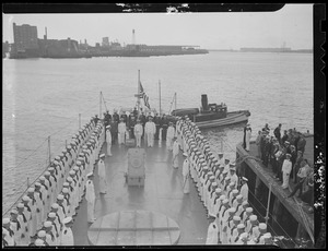 Ceremony aboard Navy ship, Boston Harbor