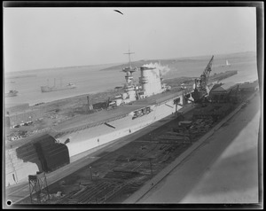 Aircraft carrier in ship yard