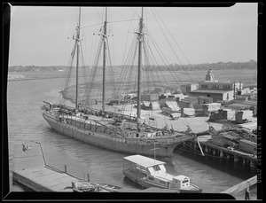 3-masted ship in harbor - Frederick P. Elkin