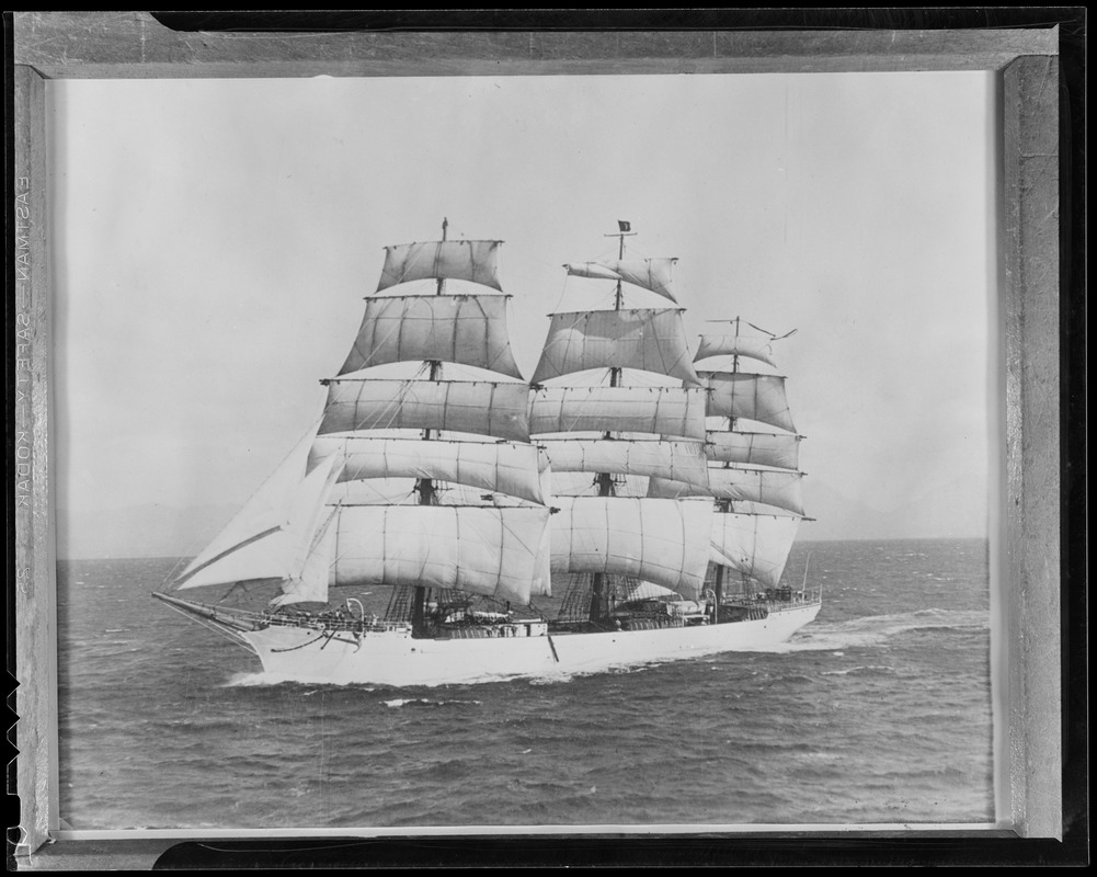 """3-masted """"Tusitala"""" - a symphony of sails owned by James A. Farrell of U.S. Steel"""