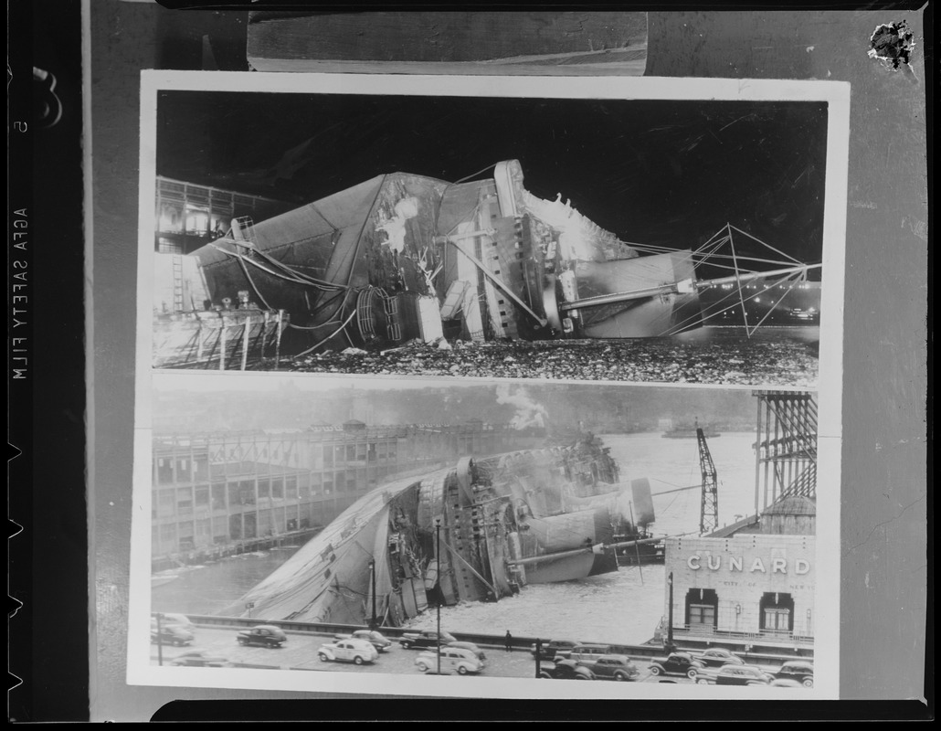 Capsized ship - Normandie (Fr.) North River pier 88 (?), New York