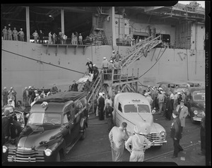 Fire aboard aircraft carrier USS Leyte, South Naval annex, S. Boston