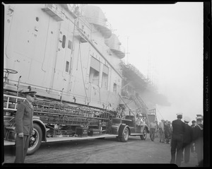 Fire on aircraft carrier, USS Leyte at South Naval annex, S. Boston